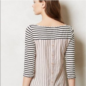 Anthro Postmark Mix Media Button Back Striped Top